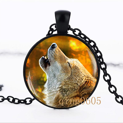 Howling Wolf necklace photo Glass Dome black Chain Pendant Necklace wholesale