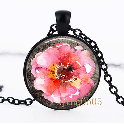Rose Art Old Garden Roses Glass Dome black Chain Pendant Necklace wholesale