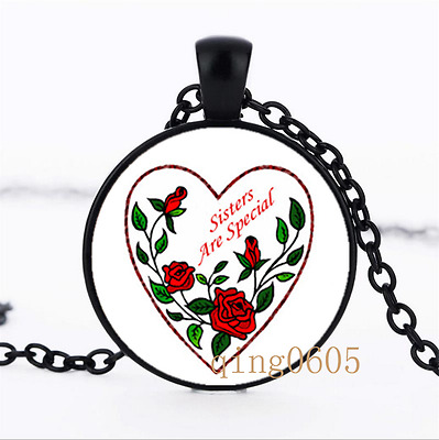 Sisters Are Special photo Glass Dome black Chain Pendant Necklace wholesale