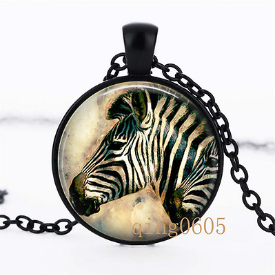 Zebra Art Necklace photo Glass Dome black Chain Pendant Necklace wholesale