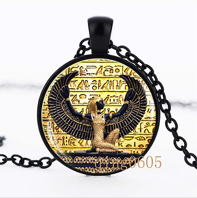 Egyptian , ancient egypt photo Glass Dome black Chain Pendant Necklace wholesale
