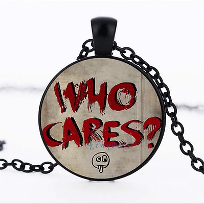 Who Cares Text Photo Glass Dome black Chain Pendant Necklace,Wholesale