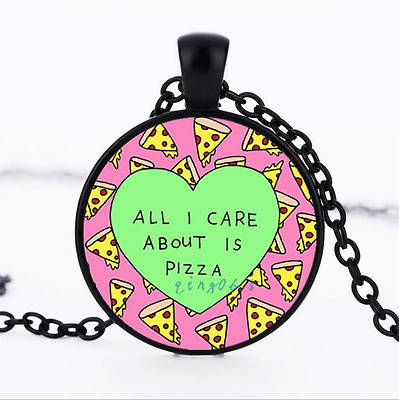All I Want is Pizza Photo Glass Dome black Chain Pendant Necklace,Wholesale