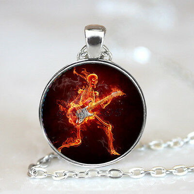 guitar skull flame Glass Dome Tibet silver Chain Pendant Necklace,Wholesale