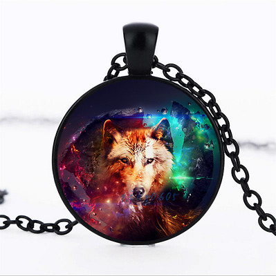 Galaxy Wolf Photo Glass Dome black Chain Pendant Necklace,Wholesale