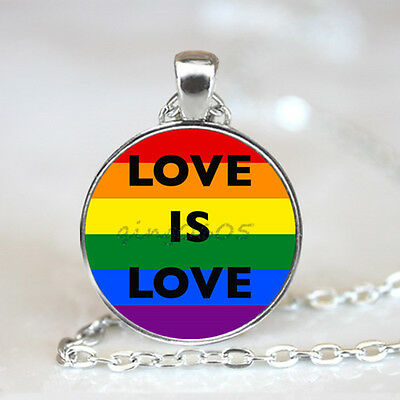 Love is Love photo Glass Dome Tibet silver Chain Pendant Necklace,Wholesale