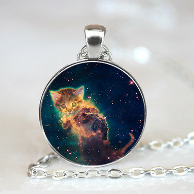 Cat with Galaxy photo Glass Dome Tibet silver Chain Pendant Necklace,Wholesale