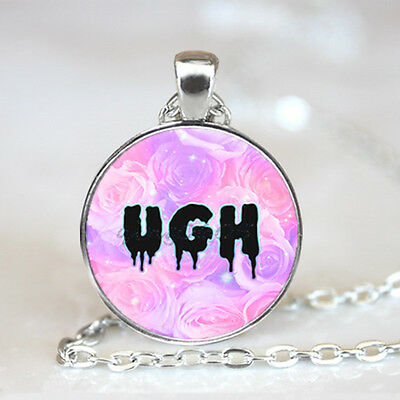 Ugh rose Text photo Glass Dome Tibet silver Chain Pendant Necklace,Wholesale