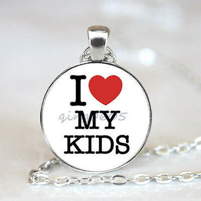 My Kids Love me photo Glass Dome Tibet silver Chain Pendant Necklace,Wholesale