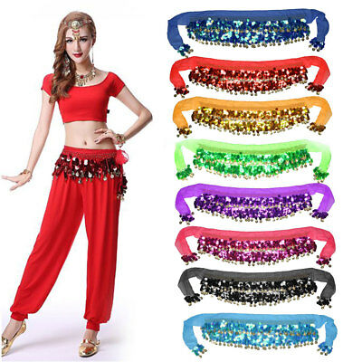 8 Colours Belly Dance Hip Scarf Wrap Belt Skirt Bead Gold Coin Dancing UK