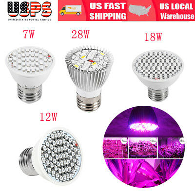 E27 28W LED Grow Light Full Spectrum Veg Flower Indoor Plant Lamp Bulb US Stock