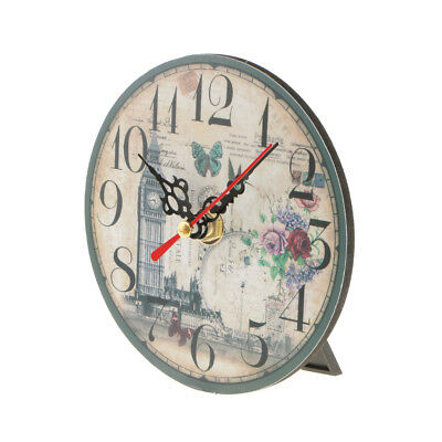 Vintage Wooden Wall Clock Round Table Desk Clock Antique Home Decorative 9#