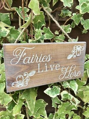 Engraved Wood Fairies Live Here Garden Sign Wall Plaque Gift