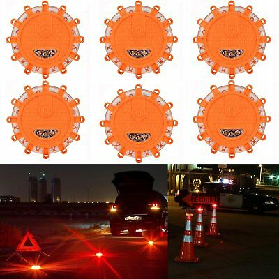 6 x LED Road  Warning Halo Safety Flare By Boundery Magnetic Base 9 patterns