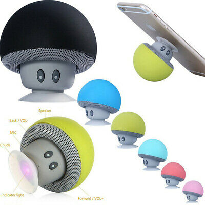 Portable-Mini Bluetooth Speaker Mushroom Wireless Stereo Waterproof Phone Holder