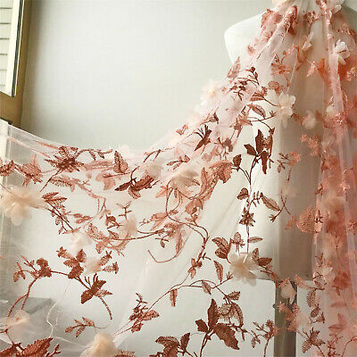 3D Flower Embroidery Lace Fabric Soft Mesh Material DIY Bridal Wedding Dress 1 Y