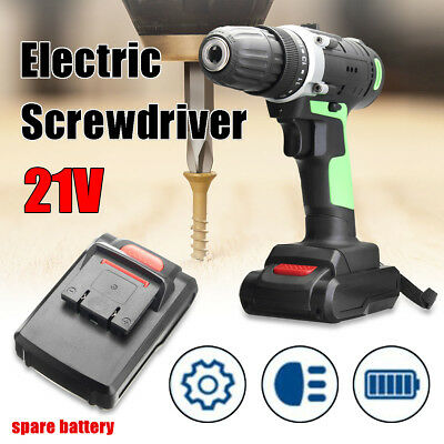 Electric Screwdriver 21V Cordless Drill Rechargeable 2 Li-Battery Power Tool Set