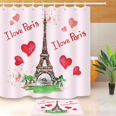 Pink Hearts I Love Paris Shower Curtain Set 180CM Bathroom Polyester Fabric New