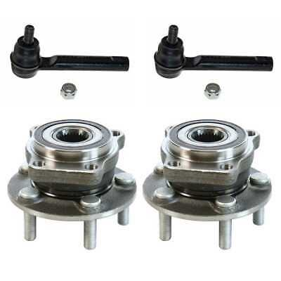 (2) Front Wheel Hub Bearing (2) Tie Rod Fits 2009-2010 2011 2012 Subaru Forester