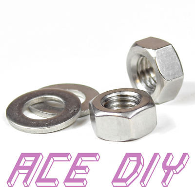 Full Hex Nuts or Flat Washers M3 - M30 Stainless Steel For Bolts & Threaded Bar