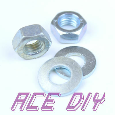 BZP Hex Nuts or Flat Washers M3 - M30 Mild Steel For Bolts & Threaded Bar Rod