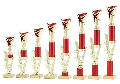 Large Gold and Red Modern Dance Trophies Awards 8 sizes FREE Engraving