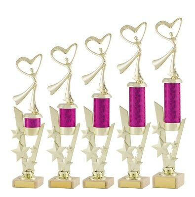 Large Gold and Pink Modern Dance Trophies Achievement Awards FREE Engraving