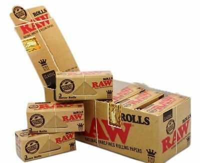 RAW King Size Natural Smoking Rolling Paper Roll 3 Meter 12 Packs Full Box