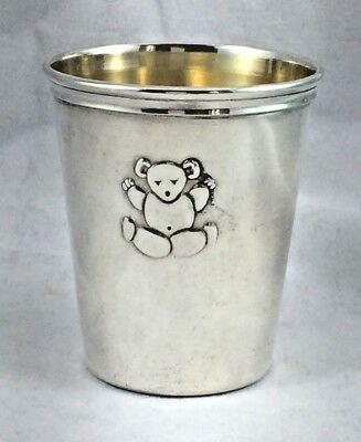 """European 800 Sterling Silver Teddy Bear Baby Cup - 2 1/3"""" Tall"""