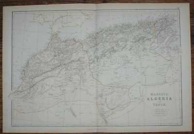 1884 Blackie's Map of Marocco (Morocco), Algeria and Tunis