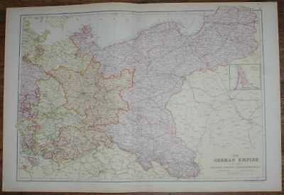 1884 Blackie's Map of German Empire, E Sheet, Prussia, Saxony, Mecklenburg, etc.