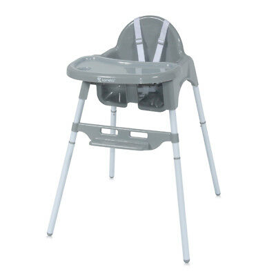 Baby Toddler Feeding Chair Grey Adjustable Height Plate Regulation 6+ Months