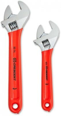 2 Piece Wrench Set Crescent 6 in. and 10 in.Adjustable Non Slip Cushion Grip