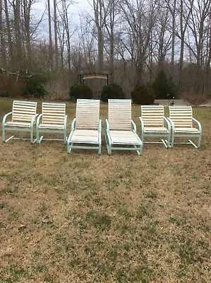 Outdoor Furniture 6 Piece Brown Jordan French Blue With 2in White