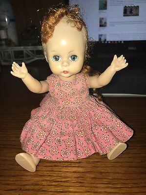 Vintage Madame Alexander Kins Doll Pink Floral Dress Jointed Knees And Hips
