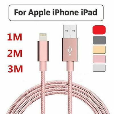 1M 2M 3M Heavy Duty Braided Lightning Charger Data Cable For iPhone 5 6 7 8 X