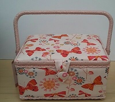 BNWT-Hobby Gift-Medium-Beautiful Butterfly Design Fabric Covered Sewing Box