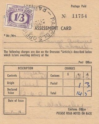 Australien: 1965: Assessment Card Papua