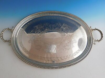 Sheffield Silverplate Tea Tray with Beaded Border and Greek Key Design (#2218)