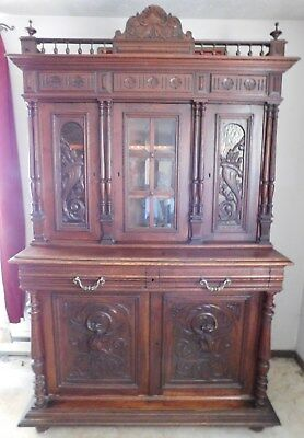 Gorgeous Antique French 3 Piece Oak Cabinet with Beautiful Carvings