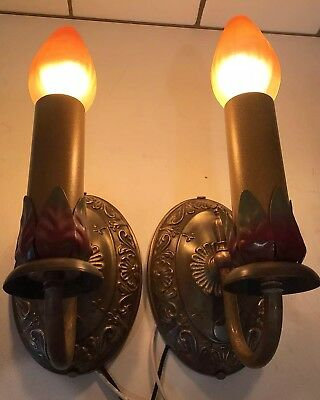 Decorative Pair Of Early Antique Brass Sconces with Great Patina Newly Wired 35A