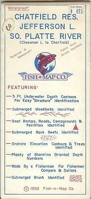 Fish-n-Map Co. CHATFIELD RESERVOIR  JEFFERSON l. SO. PLATTE RIVER c 1972