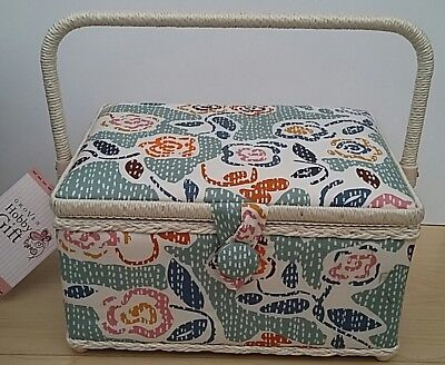 BNWT-Hobby Gift-Medium-Slab Stitch Floral Design Fabric Covered Sewing Box