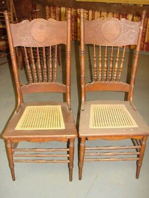 2 Antique Pressed Back Chairs Pretty Press - Hole Cane Old Finish Restoration