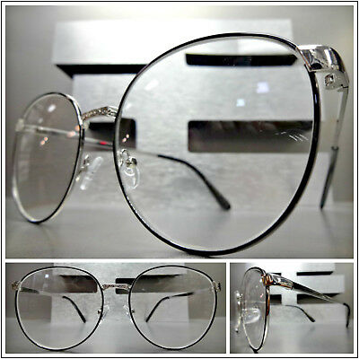 3a38c783f82 OVERSIZED EXAGGERATED RETRO Style READING EYE GLASSES READERS Silver Oval  Frame