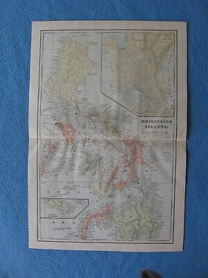 "1901 Spanish American War Lithograph Map of ""Philippines Islands"" - FRAME IT"