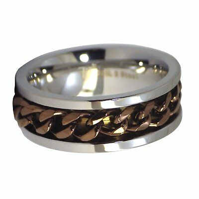 Coffee Chain Spinner Ring Mens Womens Stainless Steel Fidget Band Sizes 6.5-15