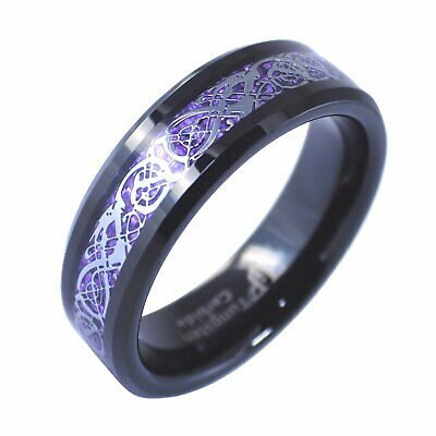 Black Tungsten Purple Celtic Dragon Ring Womens Mens 6mm Size 6-10 Wedding Band