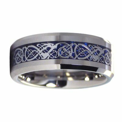 Celtic Ice Dragon Ring Tungsten Wedding Band Blue Carbon Fiber 8mm Size 6-17