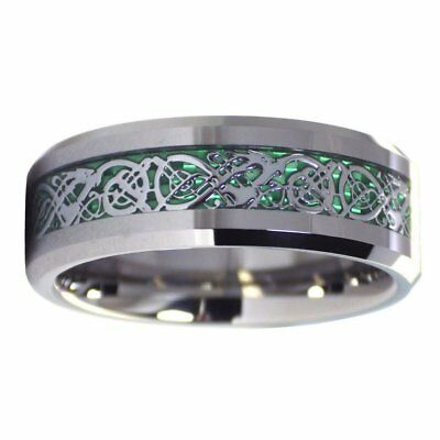 Green Celtic Dragon Tungsten Ring 8mm Mens Womens Wedding Band Size 6-17
